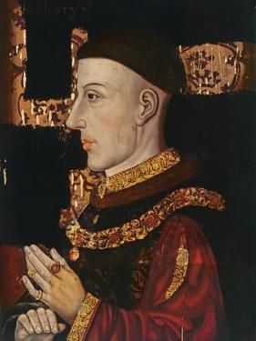 Portrait of Henry V (1387-1422) (During Restoration) (Oil on Panel) (See 99913) by English