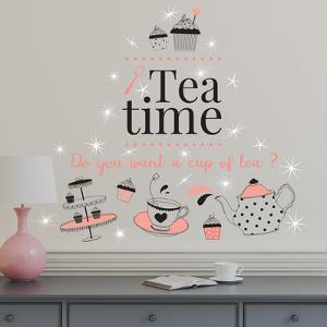 English Quote Tea Time with Swarovski Crystals