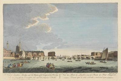 A View of London Bridge with the Ruins of the Temporary Bridge after the Fire of 11th April 1758 by English School