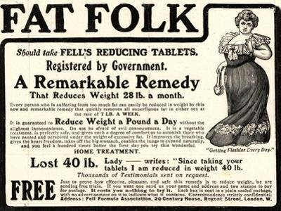 Advertisement for 'Fell's Reducing Tablets', 1910s