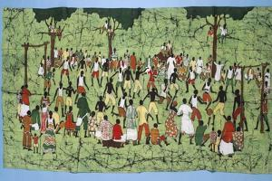 African Batik, Illustrating and Football Match with Spectators Watching by English School