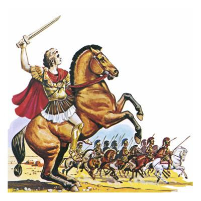 Alexander the Great on Bucephalus by English School