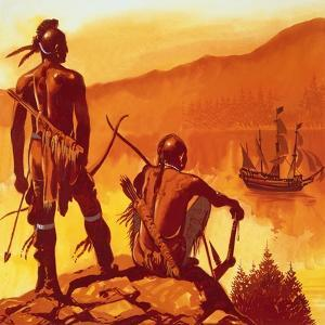 American Indians Looking at Invaders' Ship by English School