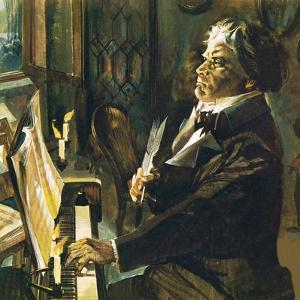Beethoven at the Piano by English School