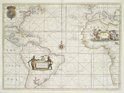 Chart of the Western  Ocean with rhumb lines by Jeremiah Seller, 1705 by English School