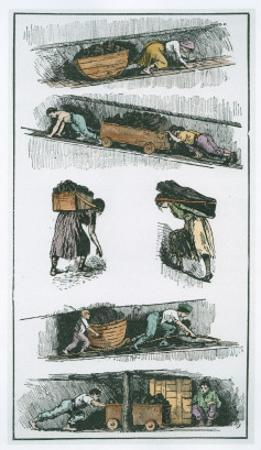 Child and Woman Labour in the Coal Mines Prior to 1843, Drawn from Contemporary Prints by English School