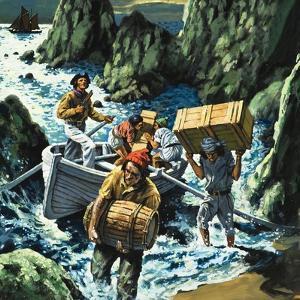 Cornish Smuggling Scene by English School