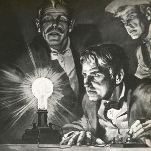 Edison's Experimentation with Light Bulbs by English School
