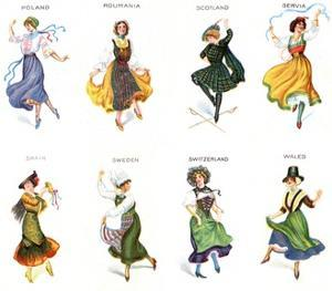 European Dancers, Cigarette Cards, 1915 by English School