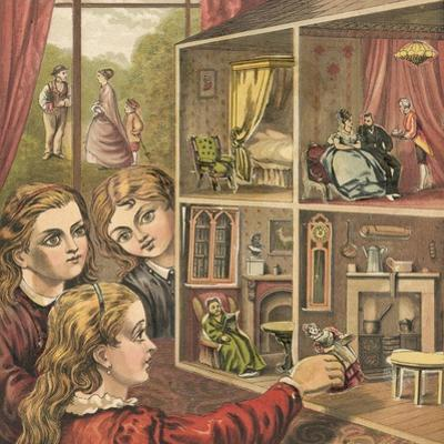 Girls Playing with a Dolls House