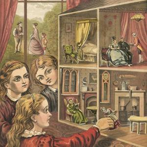 Girls Playing with a Dolls House by English School