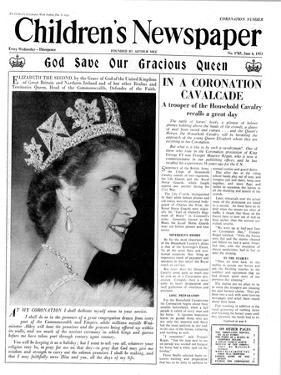 God Save Our Gracious Queen, Front Page of 'The Children's Newspaper', 1953 by English School