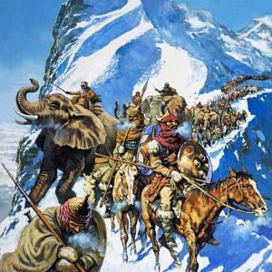 Hannibal Crossing the Alps by English School