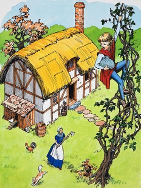 Jack Climbs Down the Beanstalk, Illustration from 'Jack and the Beanstalk', 1969 by English School