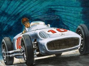 Juan Manuel Fangio Driving a Mercedes-Benz by English School
