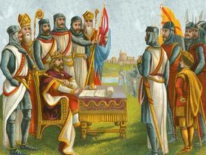 King John Signing Magna Carta by English School