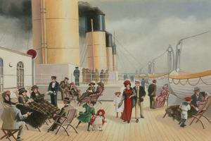 On the Deck of the Titanic by English School