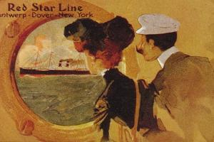 Poster Advertising the 'Red Star Line' from Antwerp to New York Via Dover by English School
