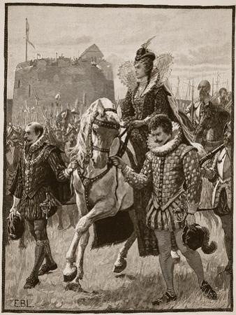 Queen Elizabeth at Tilbury, Illustration from 'Cassell's Illustrated History of England' by English School