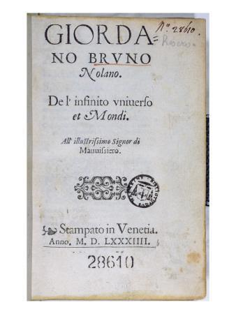Res 28610 Title Page of 'De L'Infinito Universo Et Mondi' by Giordano Bruno, Published in London