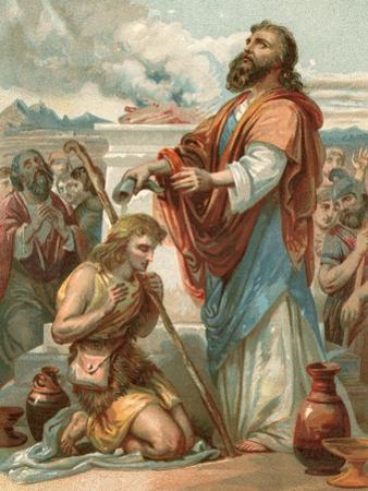 Samuel Anointing David King of Israel by English School