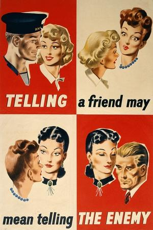 'Telling a Friend May Mean Telling the Enemy', WWII Poster