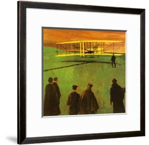 The First Flight by the Wright Brothers at Kitty Hawk by English School