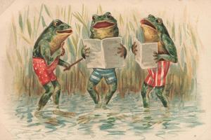 Three Frogs Singing by English School