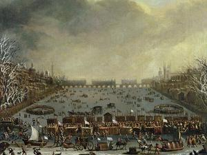 The Frost Fair of the Winter of 1683-4 on the Thames, with Old London Bridge in the Distance C.1685 by English