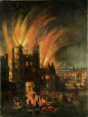 The Great Fire of London (September 1666) with Ludgate and Old St Paul's, c.1670 by English