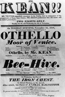 Theatre Bill Advertising Perfomances of Mr. Kean, 1818 (Printed Paper) by English