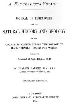 Titlepage to 'A Naturalist's Voyage around the World' by Charles Darwin, Edition Published in 1884 by English