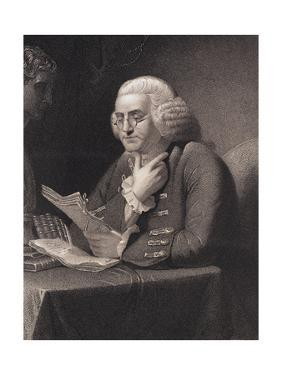 Engraving by Thomas B. Welch after Benjamin Franklin by David Martin