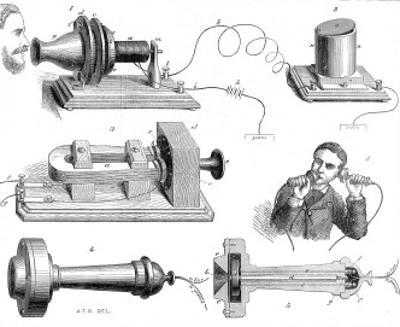 Engraving Diagram Showing Alexander Graham Bells Telephone System