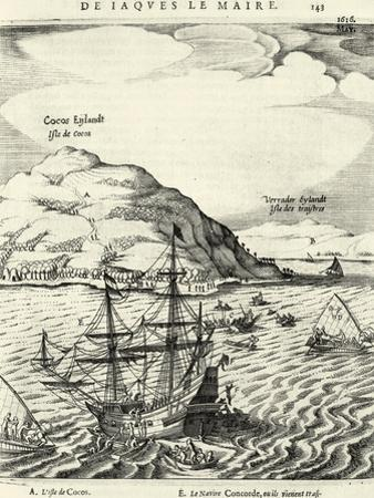 Engraving from the Journal of Jacob Le Maire Depicting the Arrival at the Cocos Islands, Tonga
