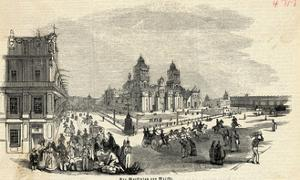 Engraving of Marketplace in Mexico