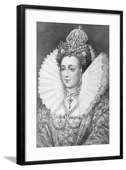 Engraving of Queen Elizabeth I in Royal Dress--Framed Giclee Print