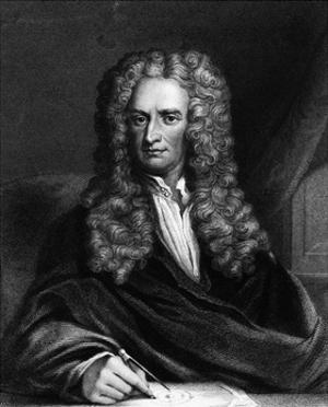 Engraving of Sir Isaac Newton Seated at a Table