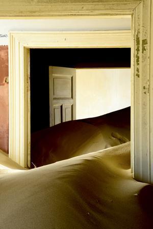 Abandoned House Full of Sand. Kolmanskop Ghost Town, Namib Desert Namibia, October 2013