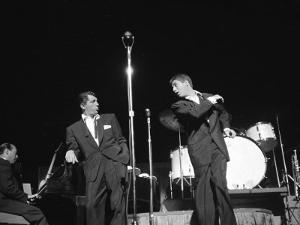 Entertainers Dean Martin and Jerry Lewis Performing