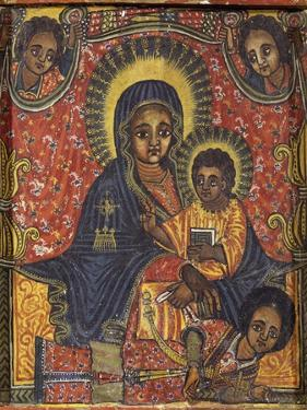 Enthroned Virgin with Child and Angels, Detail from Triptych. Ethiopia, 18th-19th Century