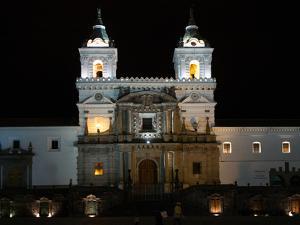 Entrance to Convento de San Francisco at night, Plaza De San Francisco, Quito, Ecuador