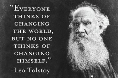 Every Thinks Of Changing World Not Himself Tolstoy Quote Plastic Sign by Ephemera