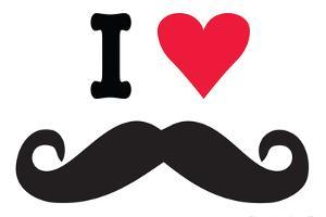 I Heart Love Mustaches Funny Plastic Sign by Ephemera