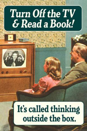 Turn Off TV Read A Book Thinking Outside The Box Funny Plastic Sign by Ephemera