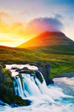 Sunset Waterfall. Amazing Nature Landscape. by EpicStockMedia