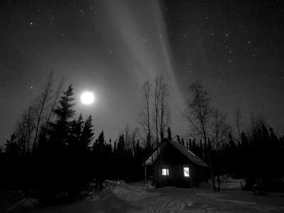 Cabin under Northern Lights and Full Moon, Northwest Territories, Canada March 2007