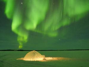 Igloo under Northern Lights, Northwest Territories, Canada March 2007 by Eric Baccega