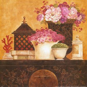 Still Life, Flowers on Antique Chest I by Eric Barjot