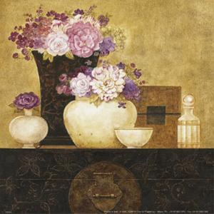 Still Life, Flowers on Antique Chest II by Eric Barjot